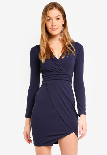 Mela London navy Long Sleeve Bodycon Dress 646D3AADA04BB4GS_1