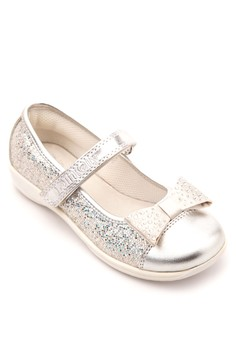 Silver Glitter and Diamond Encrusted Bow with Velcro Strap