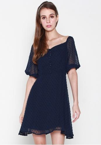 JOVET blue and navy Puff Sleeved Dotty Dress 2C248AA4B5FB2FGS_1