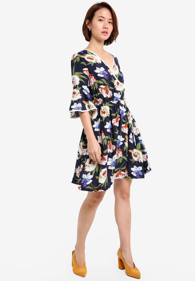 With Detail Wrap Print ZALORA Binding Dress Navy ZOwwz