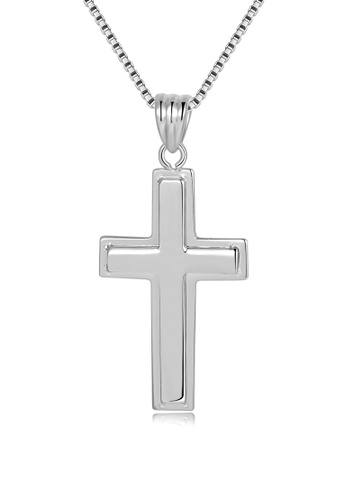 MaBelle silver 14K/585 White Color Gold Pendant Cross Christian Necklace C7D03AC30A428EGS_1