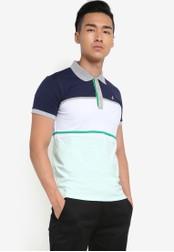 Fidelio multi and navy Cut and Sew Block Polo Shirt FI826AA18NTDMY_1