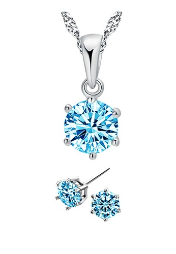 YOUNIQ silver YOUNIQ Hexa 925 Sterling Silver Necklace Pendant With Brilliant Cut Blue Cubic Zirconia & Earrings Set YO999AC36KZRMY_1