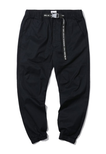 izzue navy Safety buckle belt joggers B4083AA4E5727DGS_1