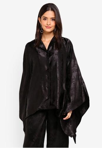 Zalia black Printed Front Kaftan Top B1CA1AA7A2B2D4GS_1