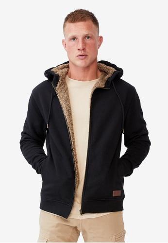 Cotton On black Sherpa Zip Thru Hoodie 43800AAA375892GS_1