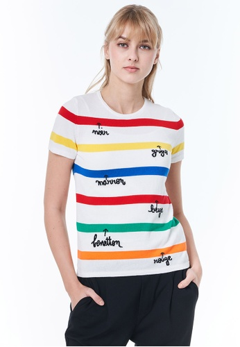 United Colors of Benetton white Striped Top. 9177FAA7C78521GS_1