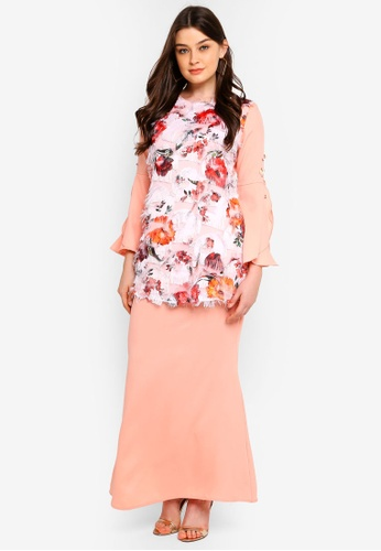 Kurung Moden from peace collections in Orange