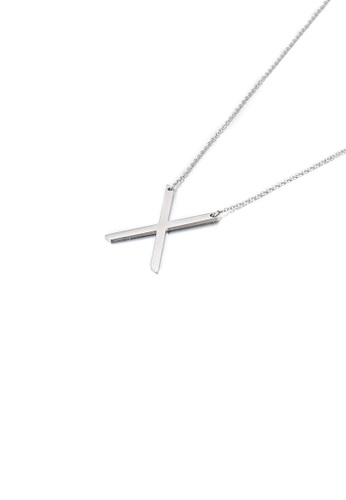 Glamorousky silver Simple and Fashion English Alphabet X 316L Stainless Steel Pendant with Necklace 06B8DAC9C6CE83GS_1