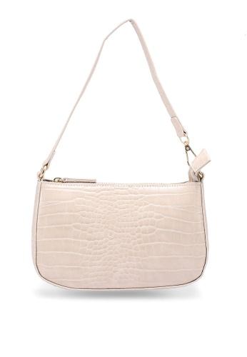 MISSGUIDED beige Croc Shoulder Bag 5E66BAC2822AB1GS_1