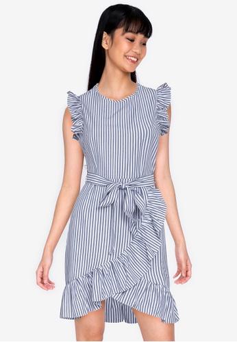 ZALORA BASICS multi Ruffle Sleeve Mini Dress with Sash 4AEC5AA2700697GS_1