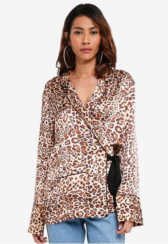 TOPSHOP brown Petite Animal Print Wrap Pyjama Shirt 4F7C6AAEE34926GS_1