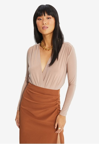 Trendyol beige Wrap Breasted Collar Knitted Bodysuit 6AF95AABC16433GS_1