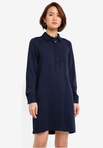 WAREHOUSE navy Popper Placket Shirt Dress 9602FAAB68426FGS_1