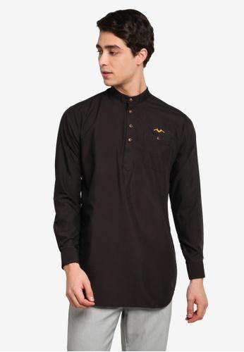 Mudaser black Black Long Sleeve Smart Shirt (Uthman Top) 08B5CAAA3BBF27GS_1