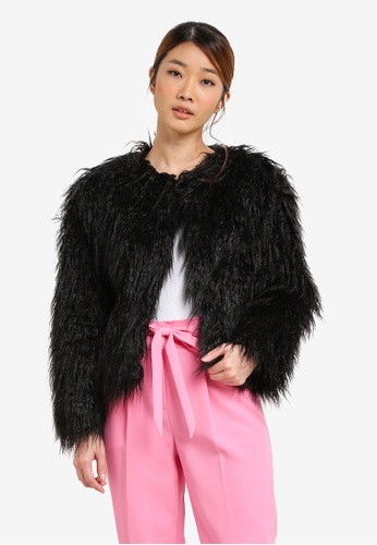 Miss Selfridge black Mongolian Faux Fur Coat MI665AA0SHVAMY_1