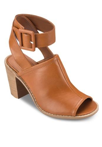Jarzalora 折扣碼rah 扣環繞踝粗跟露趾高跟鞋, 女鞋, 鞋