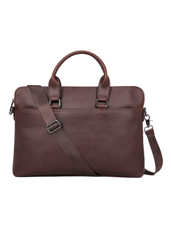 Lara brown Plain Top Handle Briefcase With A Cross Body Strap - Brown C8F9FACAC9BB11GS_1