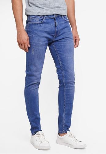 Burton Menswear London 藍色 錐形修身牛仔褲 688B8AAF741265GS_1