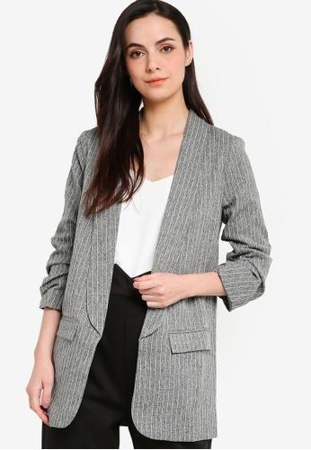 ZALORA WORK 黑色 Ruched Sleeves Blazer DA055AA961150AGS_1