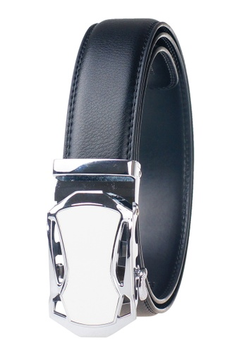 FANYU white Leather Dress Belt With Automatic Buckle 47E6DAC863EF42GS_1