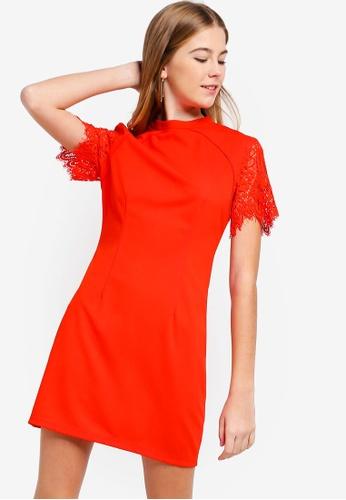 Something Borrowed red Lace Raglan Sleeve Shift Dress AC783AA0491296GS_1