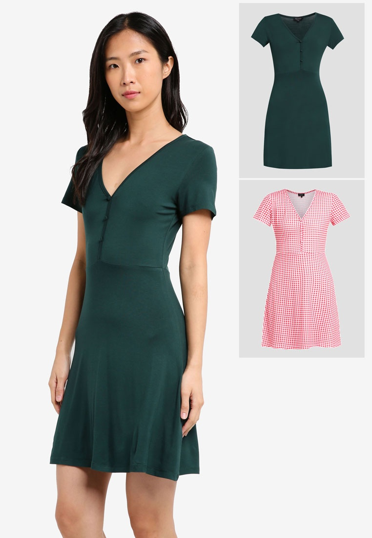Essential Tea Red Gingham Teal 2 ZALORA BASICS Pack Dress 0w6n1xqE58