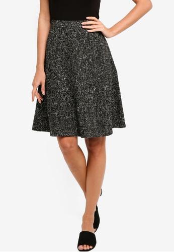 ZALORA black Tweed Flare Skirt 4FDA0AAE86E53AGS_1