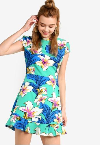 Something Borrowed 綠色 高領修身喇叭裙洋裝 DE0C2AA3935AEFGS_1