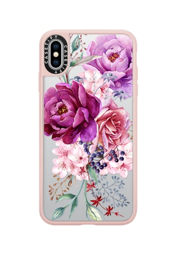 Casetify pink and multi Purple Peony Watercolour Classic Grip Case For iPhone XS Max - Pink B1FBFAC7244D35GS_1