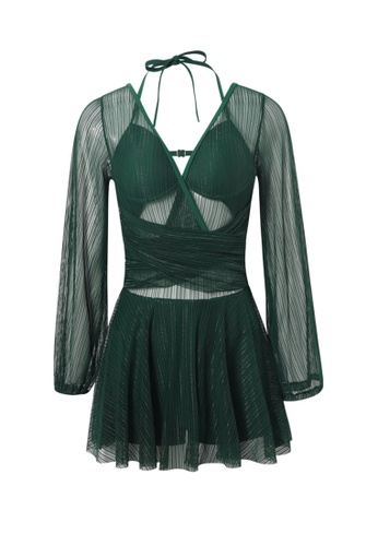 YG Fitness green Sexy Gauze Big Backless One-Piece Swimsuit 28262US7677F59GS_1