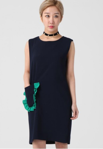 韓esprit專櫃流時尚 口袋迷笛連衣裙 F4024, 服飾, 洋裝
