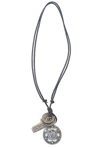 San Marco black and silver Star Yin-Yang Leather Necklace 890EAAC44EF009GS_1