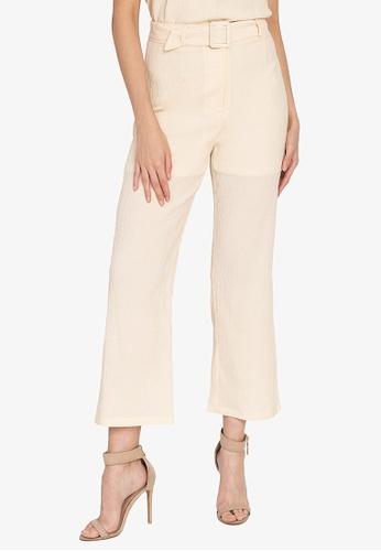 ZALORA OCCASION white Textured Wide Leg Pants F6BE1AA4205F9DGS_1
