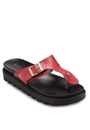 扣環夾腳厚底涼鞋, 女鞋, esprit 高雄涼鞋