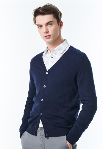 United Colors of Benetton navy V-neck Cardigan with Button CB9C1AA42A8DB1GS_1