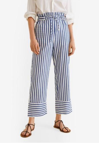 Mango blue Striped Cotton Trousers 26087AA859A7F8GS_1