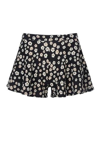 Gen Woo black Ditsy Flounced Wide Leg Shorts By Gen Woo 76FEAKA836F67BGS_1