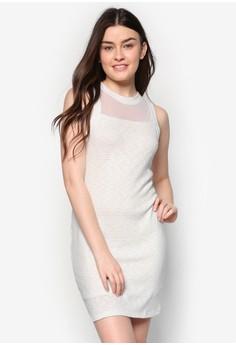 Mesh Yoke Bodycon Dress