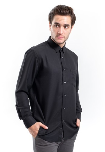 MANLY black MANLY Kemeja Regular Fit Leonel Black Long Sleeve 668C7AAF6C99A7GS_1