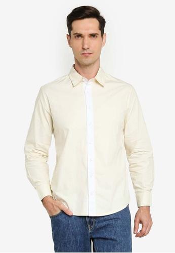 ZALORA BASICS beige Contrast Placket Long Sleeve Shirt 9A1D4AAD786812GS_1