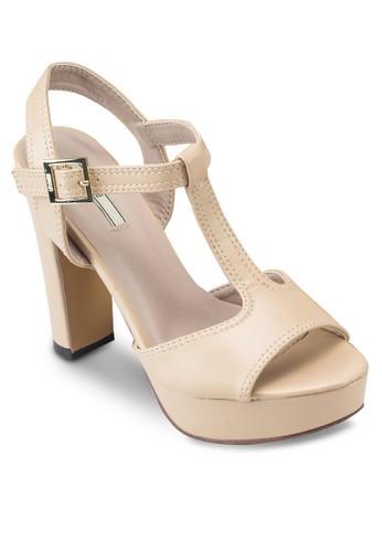 T 字帶esprit台灣門市繞踝粗跟鞋, 韓系時尚, 梳妝