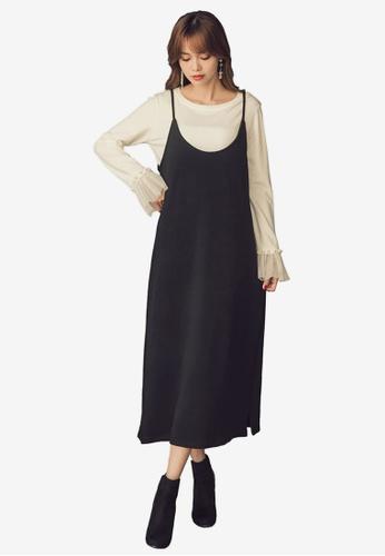 Yoco black Cowl Neck Slip Dress 307FAAA9473E4EGS_1