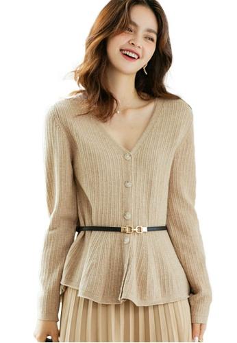 Sunnydaysweety 米褐色 V領鏤空收腰針織上衣 A092207KI BB2E8AAF672937GS_1