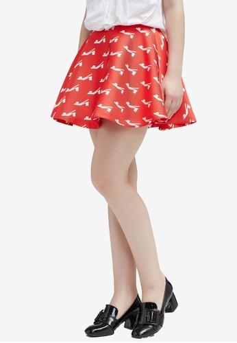 Hopeshow orange Printed Flare Mini Skirt 0F58CAAF188CACGS_1