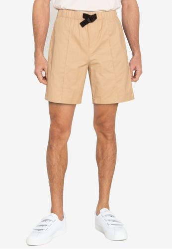 ZALORA BASICS beige Belted Chino Shorts 488F9AAB6B5D8CGS_1