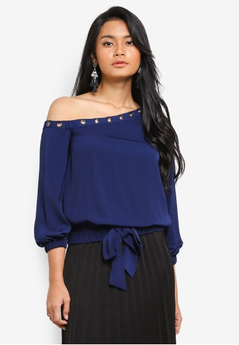 Preen & Proper navy Toga Top With Eyelet Detail CC516AAD07BD09GS_1