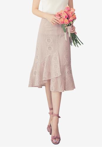 Yoco pink Lace Mermaid Midi Skirt 746DFAA7BF08CEGS_1