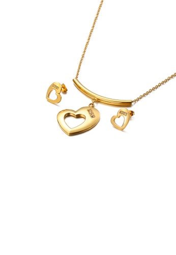 Glamorousky white Fashion and Simple Plated Gold Hollow Heart-shaped 316L Stainless Steel Necklace and Stud Earrings Set with Cubic Zirconia 914CEACEE210B3GS_1