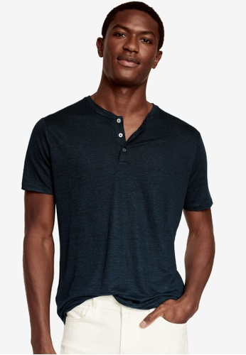MANGO Man 海軍藍色 100% Linen Henley T-Shirt 2F3EBAA7C308DEGS_1
